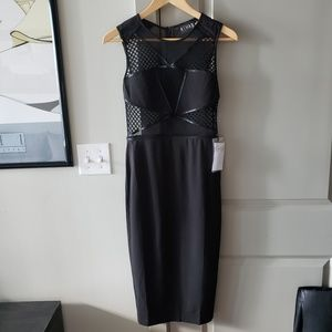 Nasty Gal Rehab Black Midi Mesh Cut Out Dress